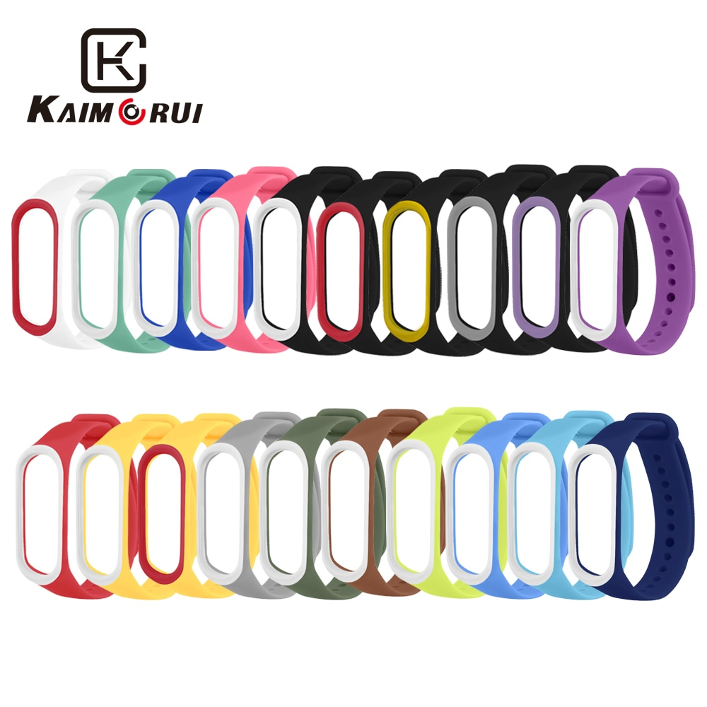 Smart Band Strap For Xiaomi Mi 4 3 Bracelet Double Color Wrist Silicone Band3 Watch