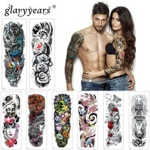 Glaryyears 1 Pc Große Arm Temporäre Tattoo Aufkleber Bunte Gefälschte Tatoo Sleeve Flash Tatto Wasserdichte Große Körper Kunst Männer Frauen TQB