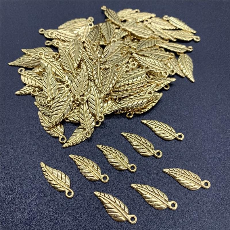 35 Uds. Abalorios de aleación de 20x7mm con tapa, abalorios antiguos dorados, dijes colgantes con forma de hojas para fabricación de joyería, accesorios DIY