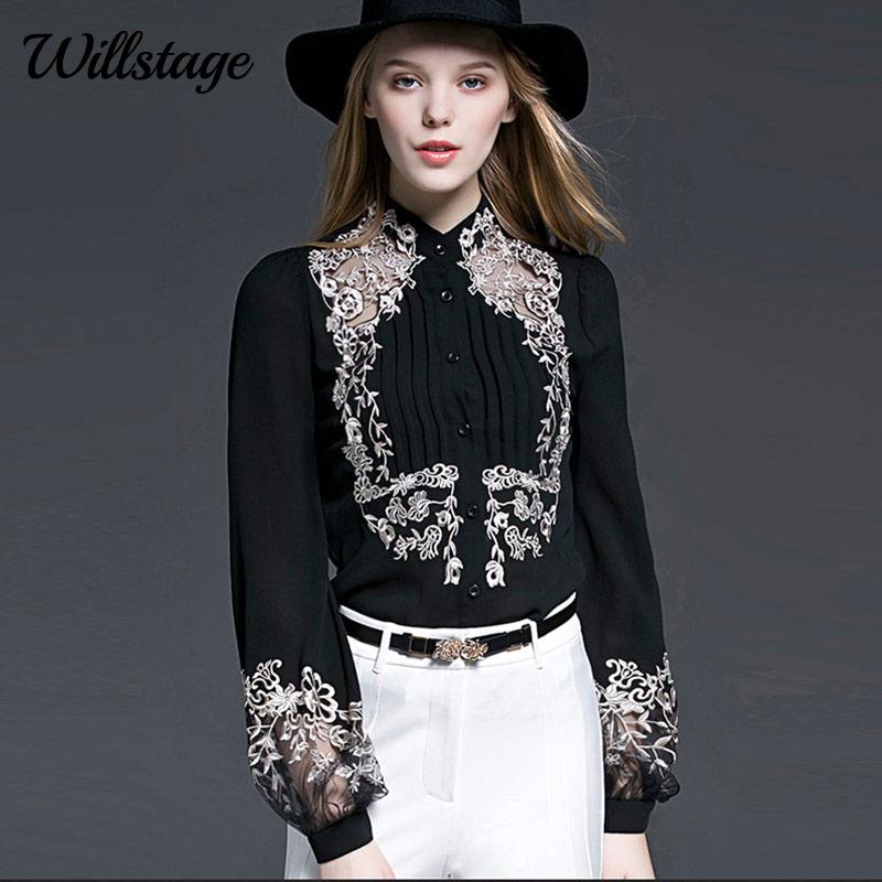 Willstage nova 2019 primavera blusa feminina floral bordado manga comprida camisas malha oco para fora escritório senhoras ol trabalho wear preto topo