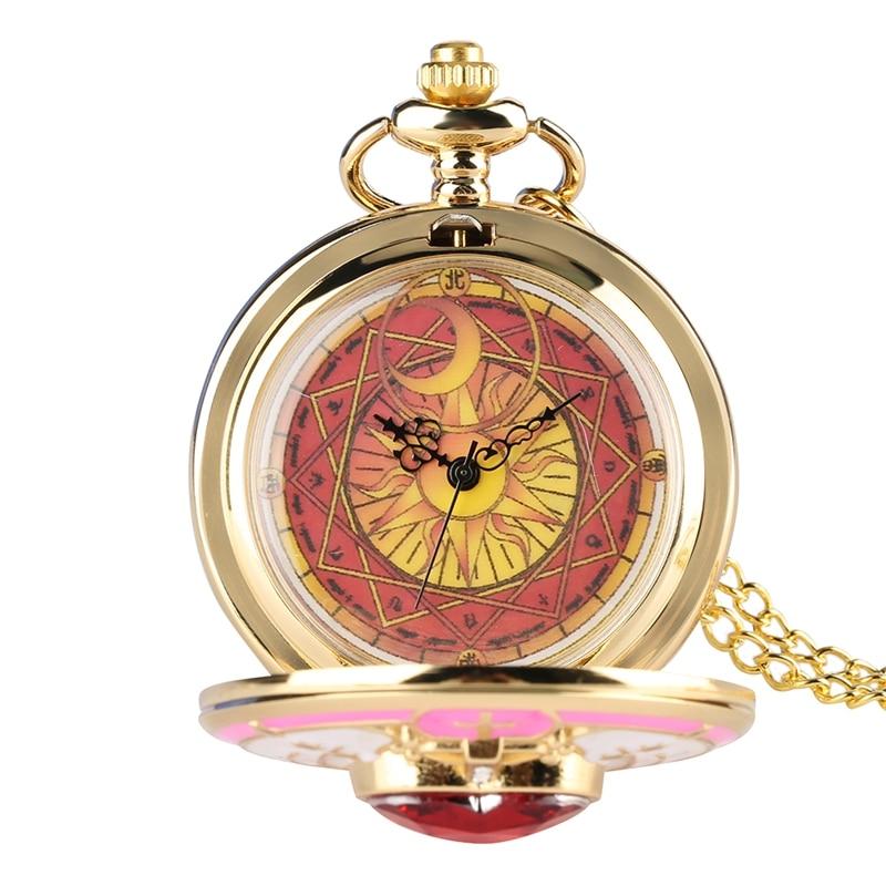 Único feminino magic rhinestone sakura relógio de bolso de quartzo ouro sailor moon colar pingente corrente presentes cosplay para meninas
