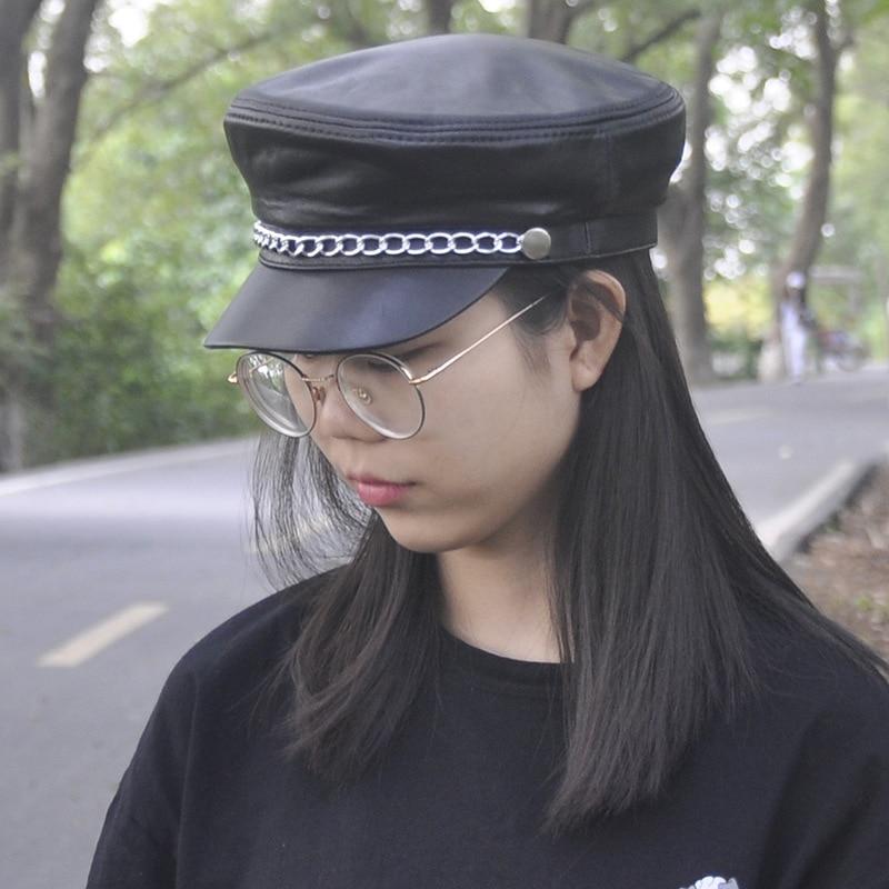 Кожа действительно шапка Для мужчин и женщин темно шляпа овец цепь кожи