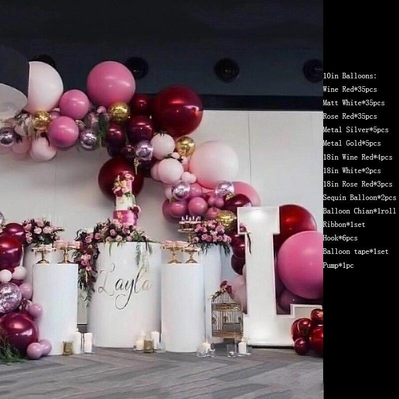 Conjunto de globos completos bien combinados, suministros para fiestas de bodas, suministros para fiestas de cumpleaños y eventos, conjunto rojo de vino Noble, cadena 3D romántica DIY