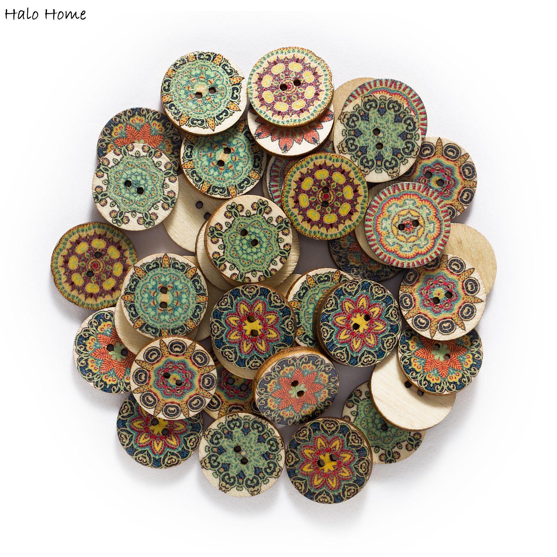 15-25mm 50 pçs tema retro botões de madeira para handwork costura scrapbook vestuário artesanato acessórios cartão de presente decoração artesanal