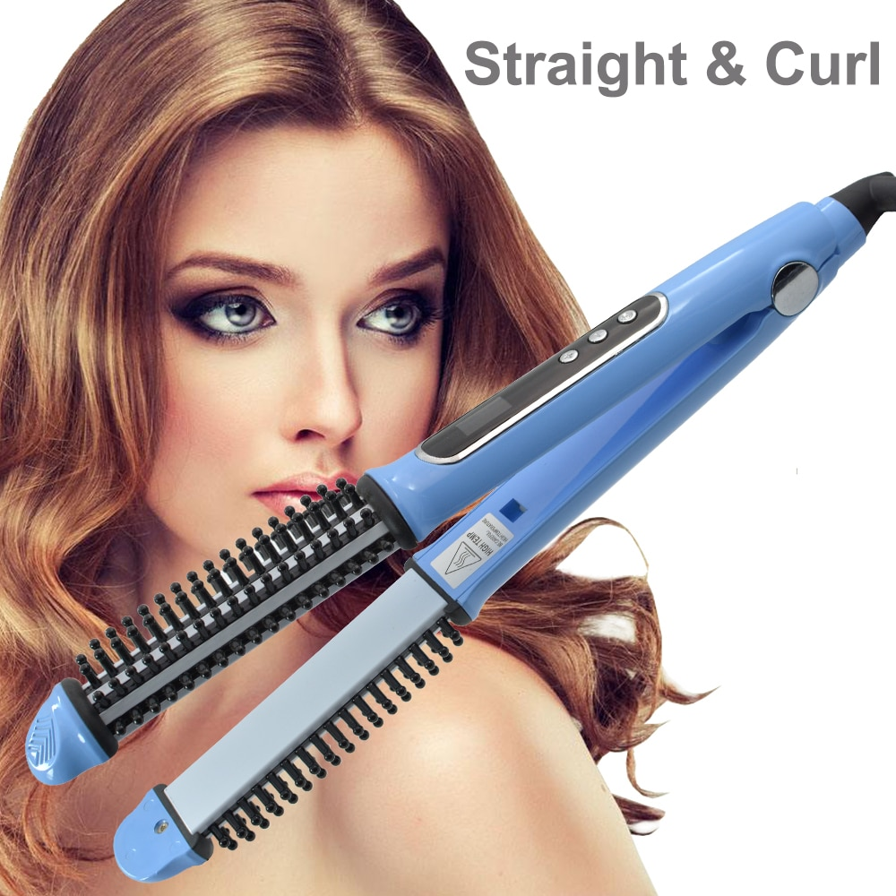 portable size handheld hair straight electric brush professional lcd display fast hair straightener comb Fast Hair Straightener Brush hair Electric brush comb Hair Curling Irons Straight Hair Comb brush