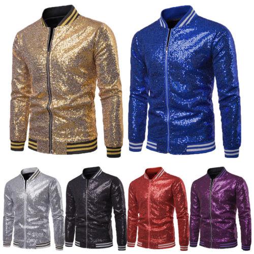 Men Shiny Blazers Gold Sequin Glitter Suit Jackets Male Nightclub One Button Suit Blazer DJ Stage Blazers