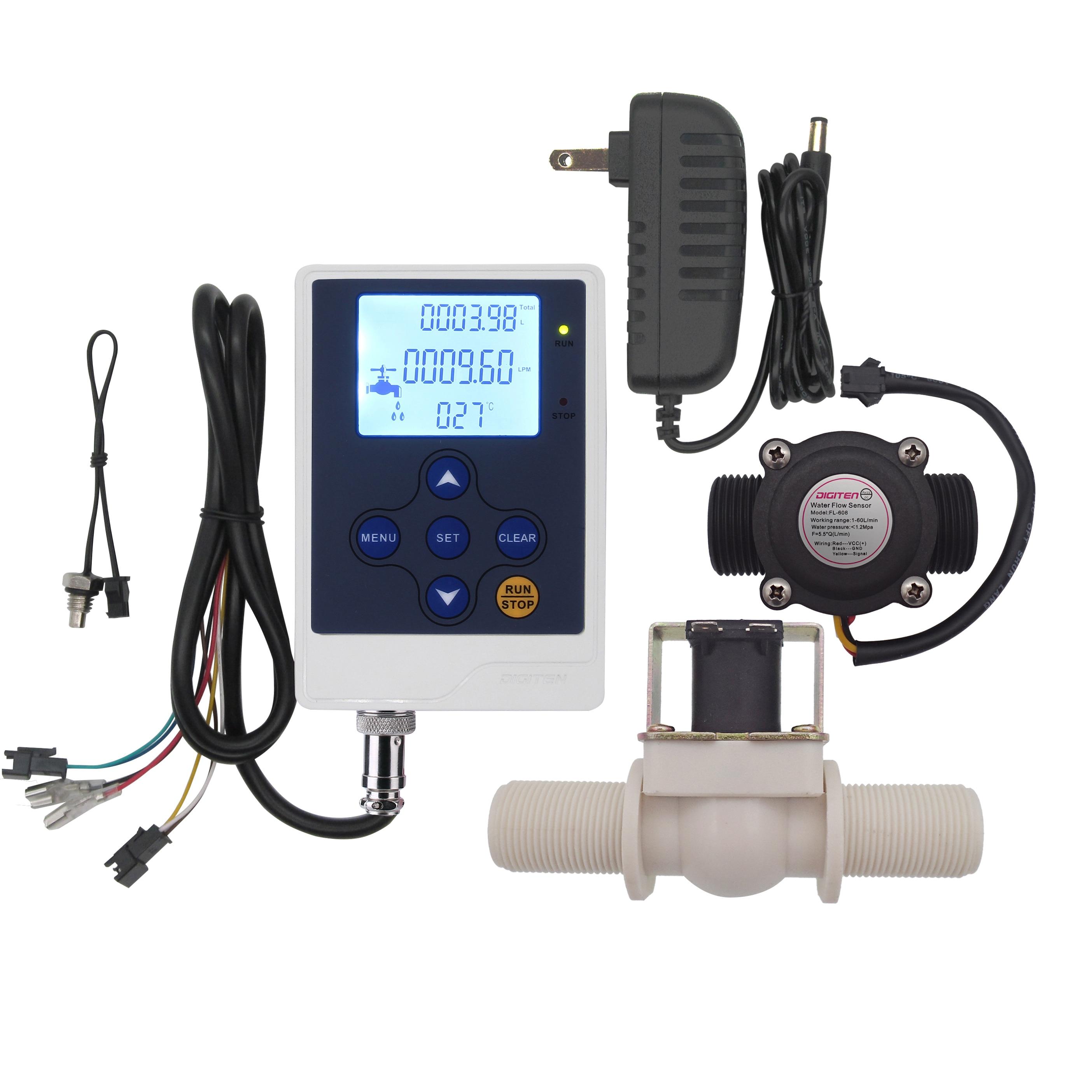 "Controlador de pantalla LCD DIGITEN de Control de flujo de agua + Sensor de sala G3/4 ""medidor de flujo contador + Válvula Solenoide G3/4"" normalmente C"