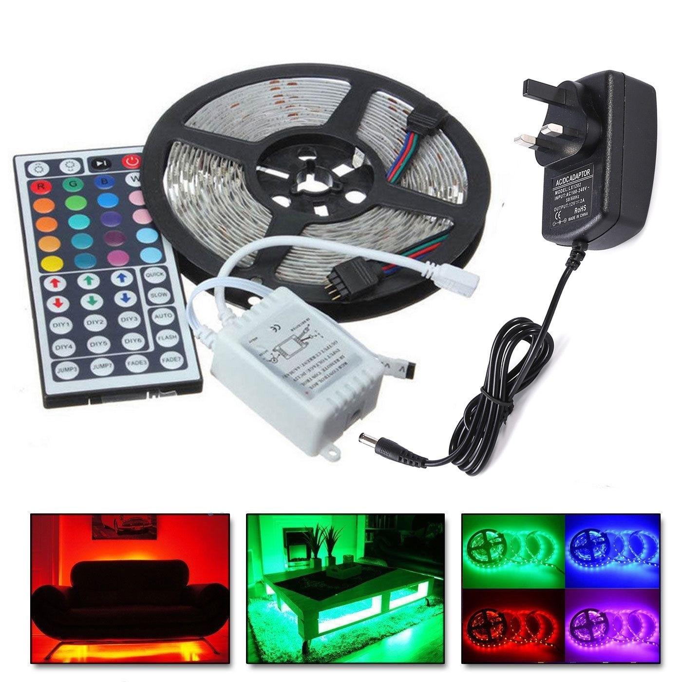Tira de luces LED RGB SMD 3528, 5M, 10M, 300/600, con adaptador de 12V, mando a distancia 44Key
