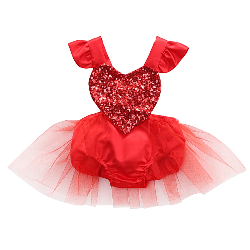Navidad niño Infante gasa para bebé niña corazón Bodi sin mangas de verano San Valentín lentejuelas mono rojo traje