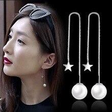 2016 nouveaux cadeaux de noël argent-couleur simulé perle pendentif longue déclaration boucles doreilles pour les femmes de mariage bijoux accessoires