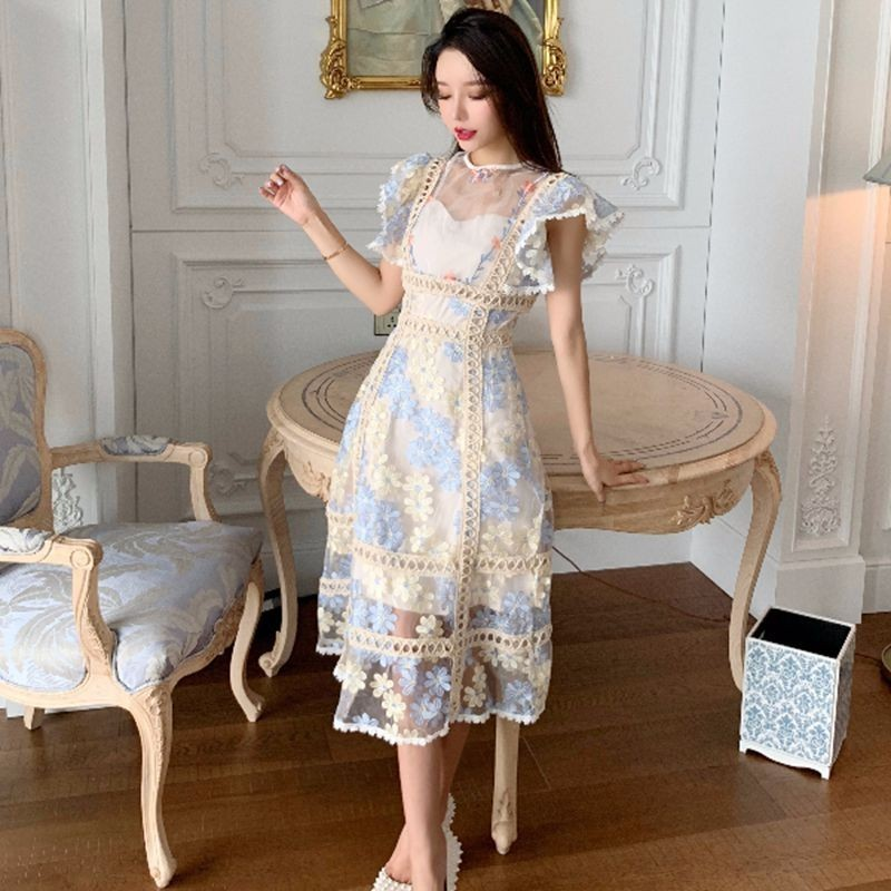 High Quality 2019 Summer Dress Women Mesh Embroidery Lace Patchwork Butterfly Sleeve O-neck Vintage Long Dresses Vestidos