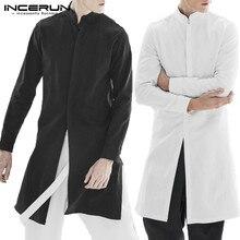INCERUN Streetwear hommes chemise en coton à manches longues col montant haut hommes solides indien hauts décontracté Vintage hommes chemise longue 5XL