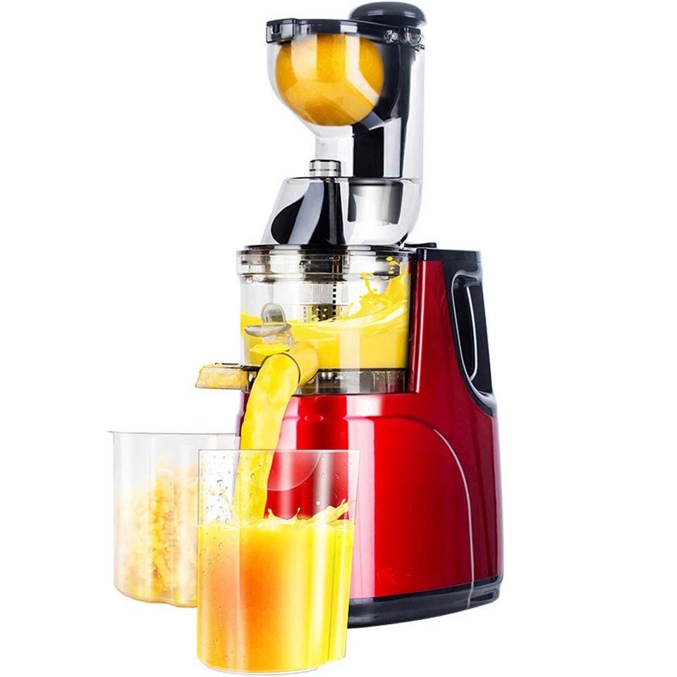 عصارة كبيرة منخفضة السرعة لتغذية الفواكه والخضراوات بعصير التفاح الكامل والبرتقال