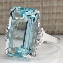 925 splitter Blau Topaz Ring für Frauen Sapphire Bizuteria Silber 925 schmuck Schmuck Edelstein Türkis Edelstein Saphir Ring