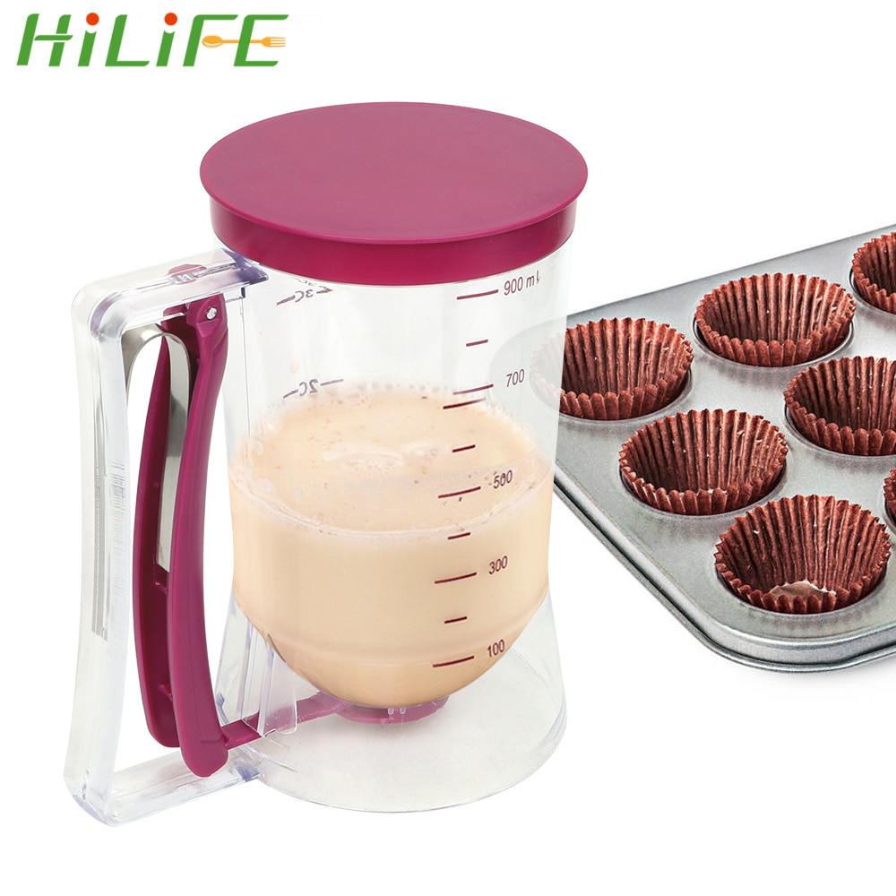HILIFE Cream Speratator Batter Flour Paste Dispenser Baking Tools For Cupcakes Pancakes Cookie Cake Muffins 900ml Measuring Cup 2021 new arrival popular diy tool 900ml cupcake pancake batter dispenser muffin helper mix pastry jug baking family essential