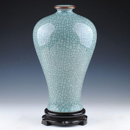 Colección China Jingdezhen artesanía tradicional craquelado de celadón florero antiguo