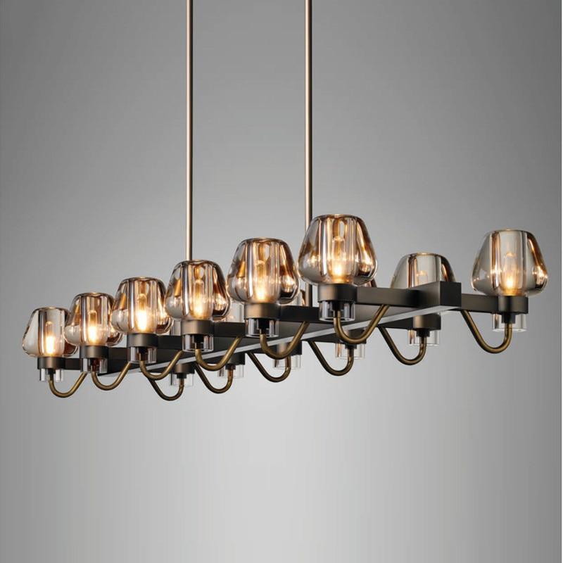 مصباح سقف Led معلق على الطراز الأمريكي مع ظلال زجاجية مستطيلة ، مصباح معلق قديم ، مثالي للدور العلوي أو غرفة الطعام.