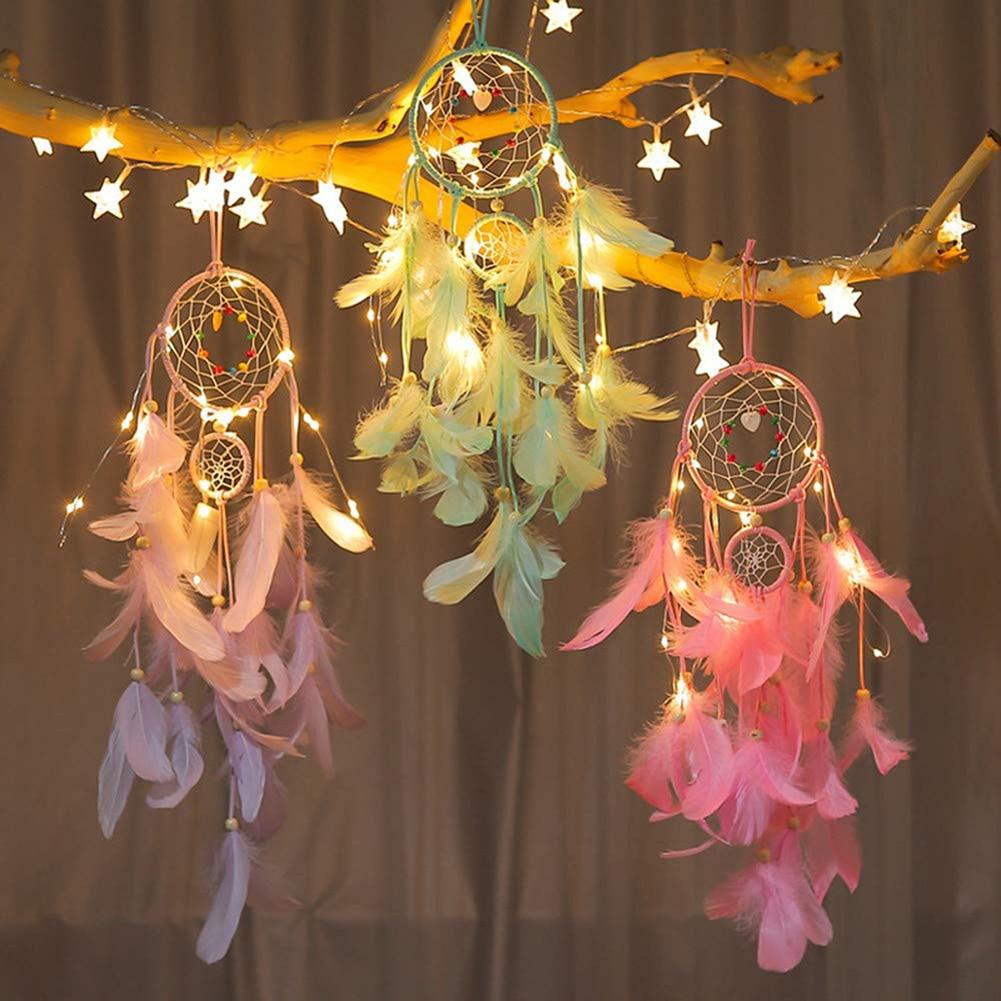 2 M 20 LED iluminación atrapasueños lámpara de araña artesanías con plumas campanas de viento chica dormitorio romántica colgante decoración regalo