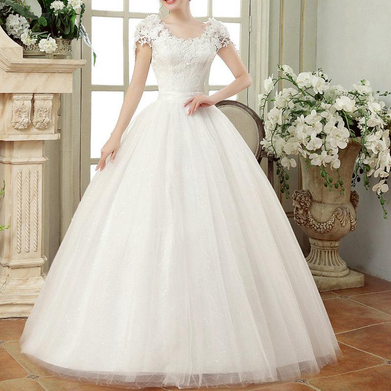 Lace Wedding Dresses 2021 Ever Pretty Princess Ball Gown V Neck Lace Bridal Gowns Vestidos Cerimonia Vestido De Noiva Princesa