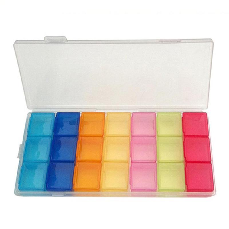 1pc 7-color caja para píldoras organizador para caja de medicamentos Semana De funda, soporte para la medicina de drogas píldora Jewlly 7 caso, día 21 ranura