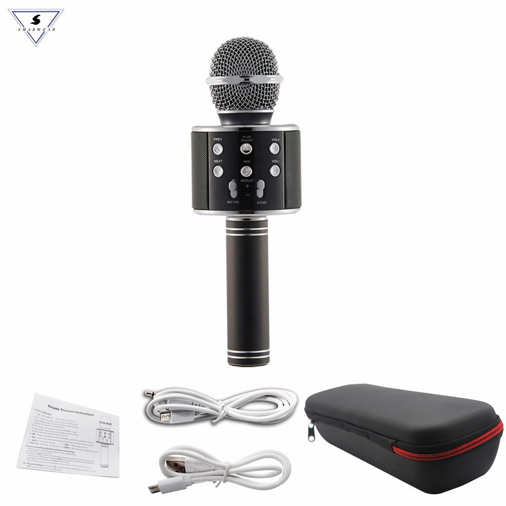 Altavoz de micrófono de karaoke inalámbrico profesional de Microfono condensador WS858 con bolsa protegida Bluetooth ordenador MIC PK WS-858