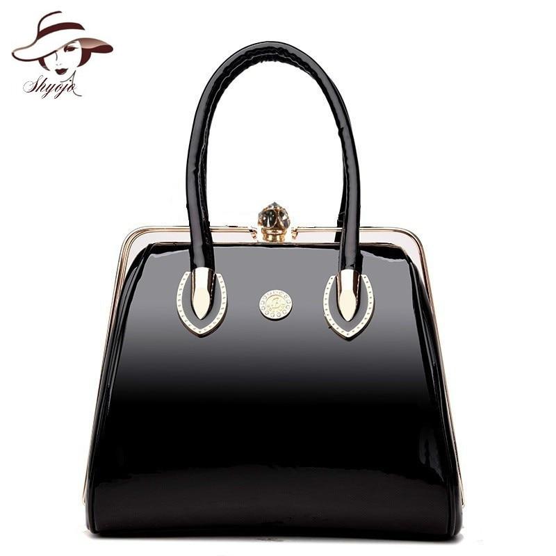 Bolsas de luxo do vintage macio couro patente bolsas femininas marca moda designer senhoras grande ombro mensageiro bolsa crossbody tote