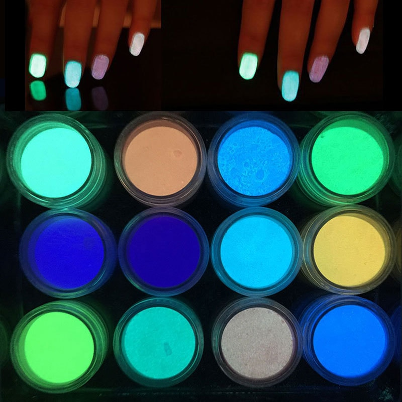1 caja de fósforo neón polvo, uñas con purpurina en polvo 12 colores polvo luminoso pigmento fluorescente polvo, uñas con purpurina s resplandor en la oscuridad