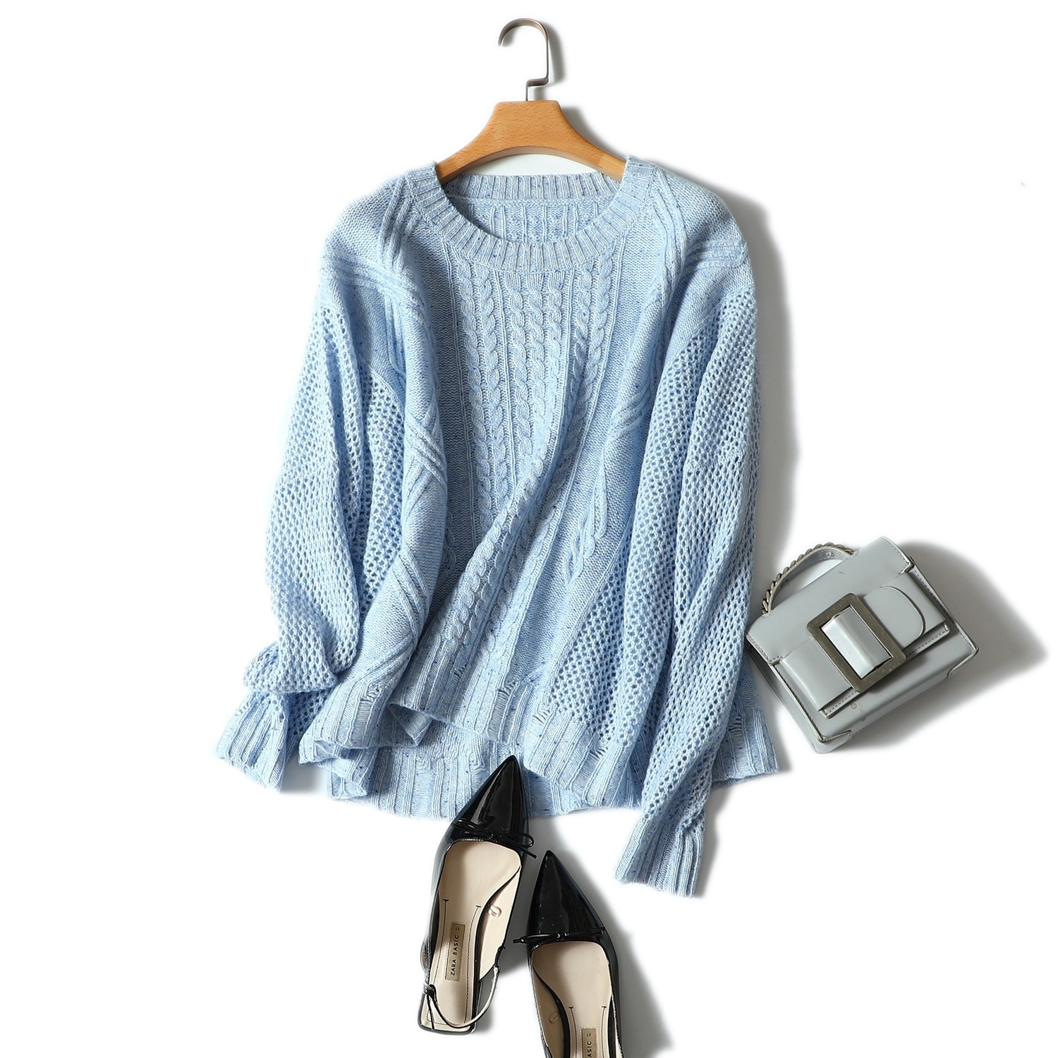 Shuchan 30% Cashmere 70% Wool Autumn Winter Knitwear Pullover Female Sweaters Hollow Out Loose Korean Women Sweater Knitting