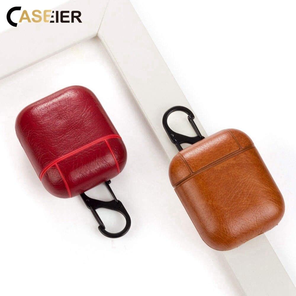 CASEIER protección auriculares bolsa caso Caballo loco de cuero de patrón de bolsa para los Airpods 1 2 auriculares Bluetooth con carcasa