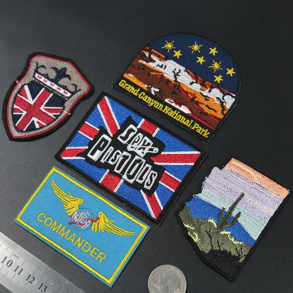 Sex Pistols Rock Band parches bordados completos adhesivos para planchado para ropa Punk moral banderas paisaje apliques ropa insignias