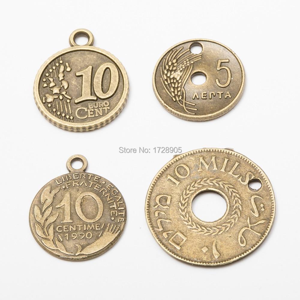 Moneda dije europeo antiguo 10 BURO cent Centime 10 Uds 25 mm 23 mm antiguo bronce Metal colgantes para joyería