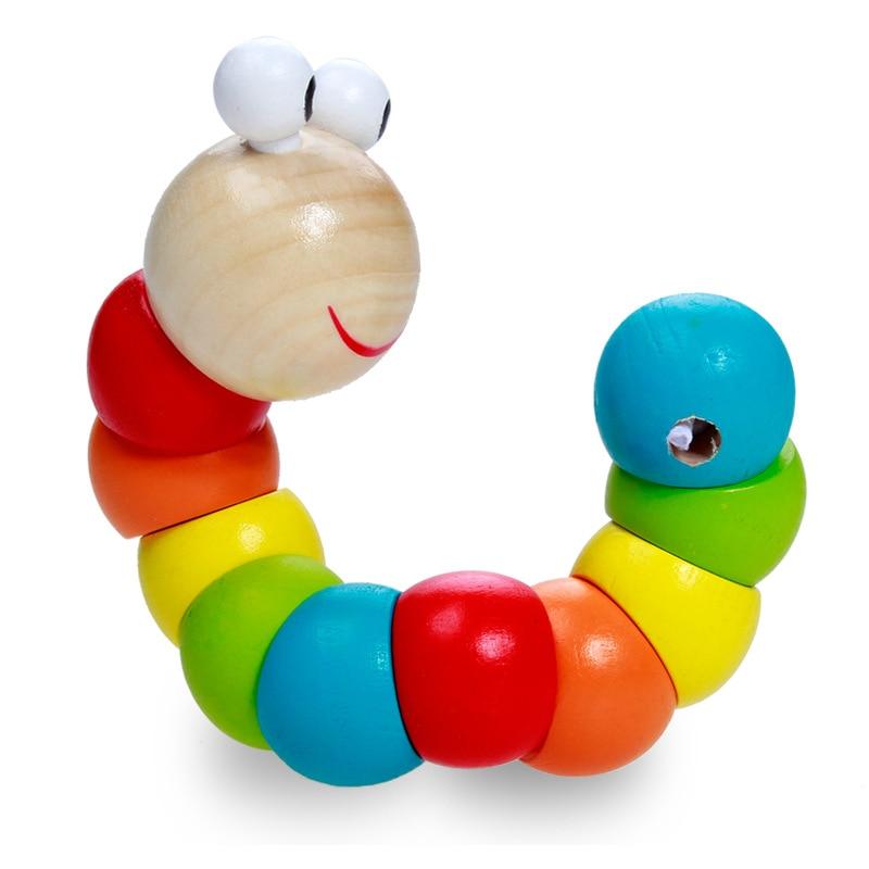 Оптовая продажа от производителя, разные цвета, твист, червь, гусеница, животное, кукла, деревянная головоломка, игрушки для упражнений, гибк...