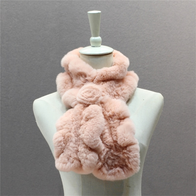 IANLAN New Rex Rabbit Fur Scarves for Womens Winter Real Knitted Fur Floral Style Mufflers Girls Sol