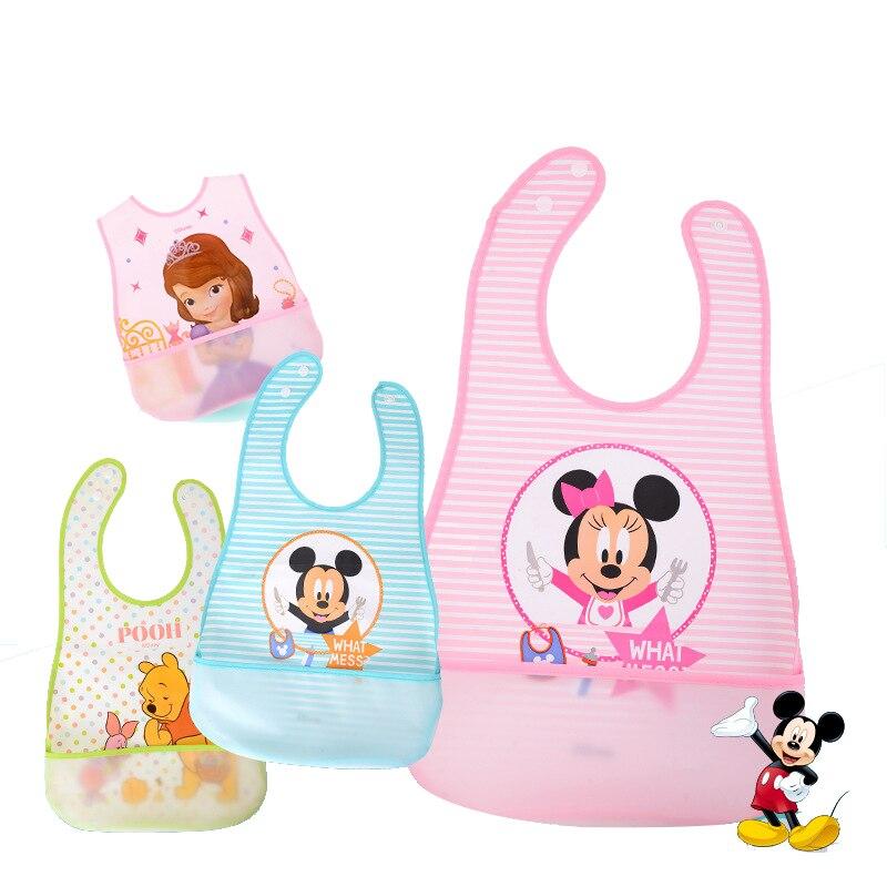 Baberos de bebé a prueba de agua de Disney, toalla de Saliva de Mickey Burp, ropa para niños de dibujos animados de Minnie, babero de algodón para niño y niña, accesorios