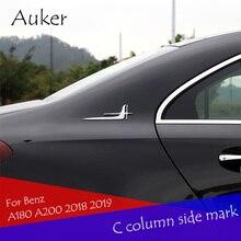 Para mercedes benz a classe a180 a200 2018 2019 carro janela traseira canto emblema tiras c pilar lado adesivos estilo do carro