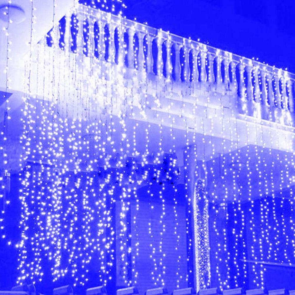 5m 216 LED Icicle cortina ventana luces cascada Hada cadena luces para interior exterior Navidad vacaciones guirnaldas de boda