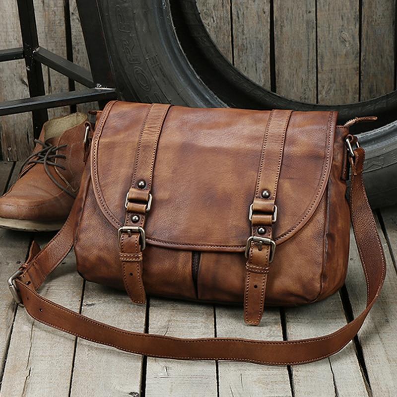 موضة جديدة جلد طبيعي حقيبة كتف الرجال الجلود حقيبة ساعي بريد للرجال حقيبة كروسبودي الذكور حقيبة رافعة عادية الترفيه خمر براون