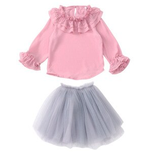 2021 summer Chiffon Lace Baby Toddler Girls clothes Blouse + skirt Clothes Children Long Sleeve Kid teenager 7 8 9 10 11 12 year