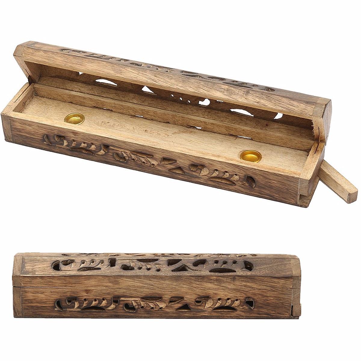 Quemador Joss caja Mango madera incienso palo soporte incrustación cono quemador de ceniza Mango madera 30,5x5,6x6,3 cm quemadores de incienso