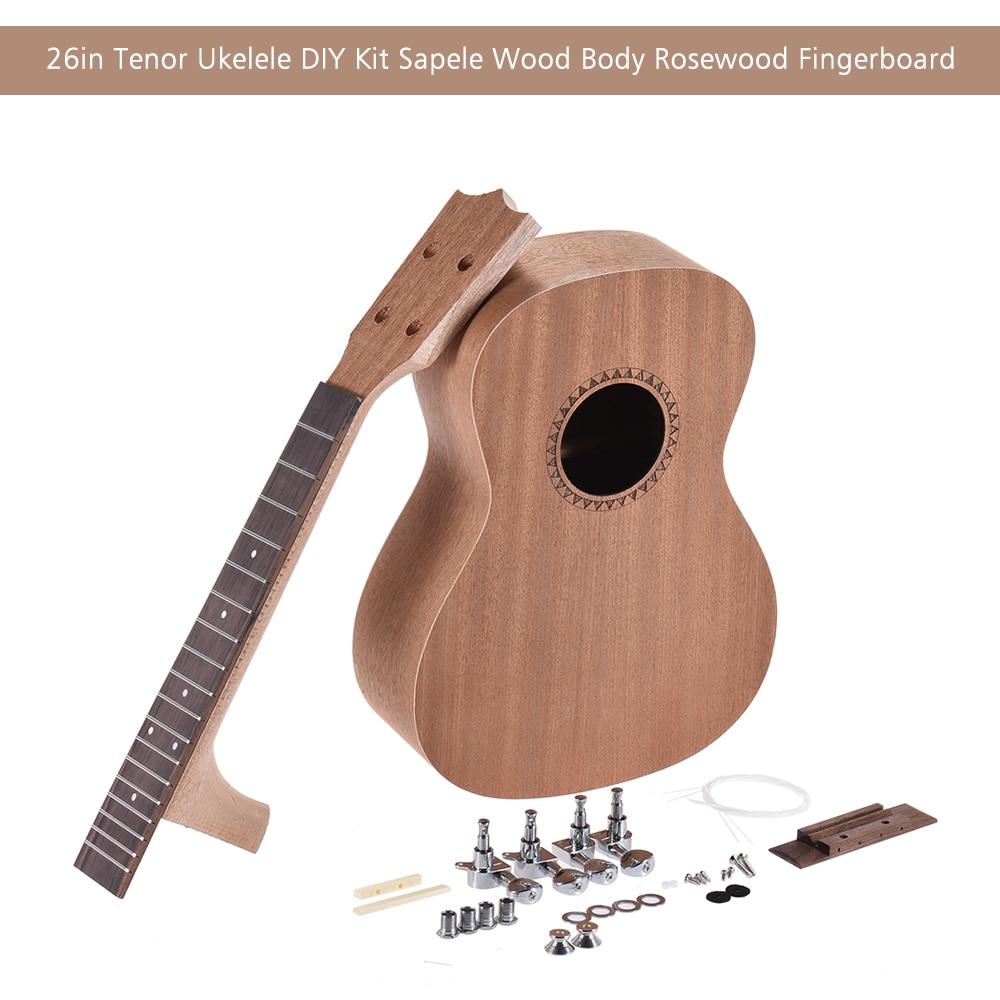 26in Ukulele DIY Kit Tenor Ukelele Hawaii Gitarre DIY Kit Sapele Holz Körper Palisander Griffbrett mit Pegs String Brücke Mutter