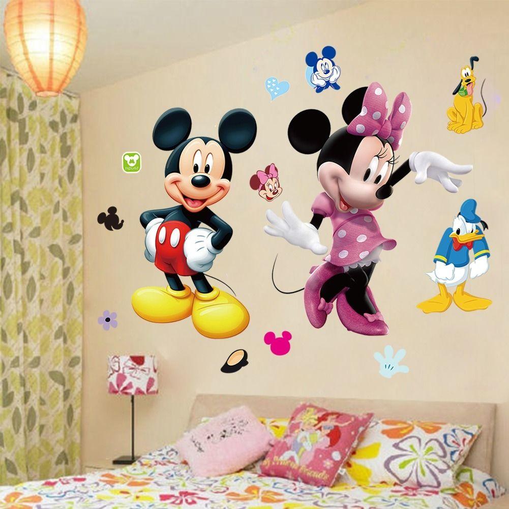 Виниловые Настенные стикеры Минни Маус Минни, наклейки для детской комнаты, декор WS