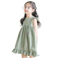 green dress age for 6 - 14 yrs teenage girls sleeveless chiffon ruffle dress summer simple chinese style backless kids frocks
