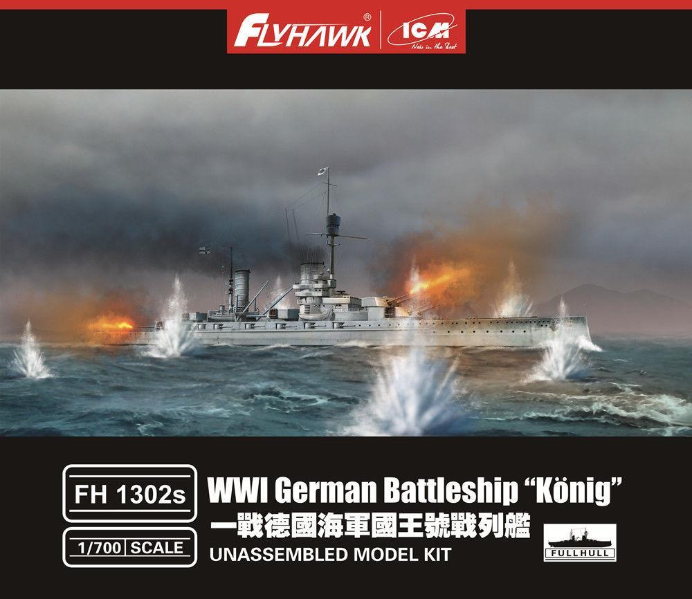 Flyhawk 1302S 1/700 Primera Guerra Mundial, acorazado alemán, calidad superior