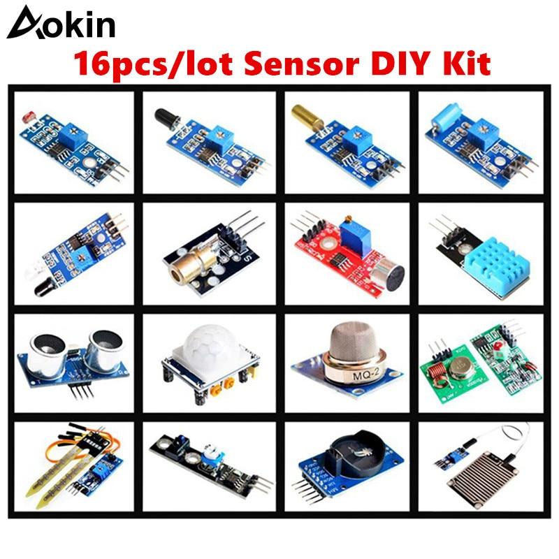 16 pçs/lote Sensor Módulo Board Set Kit Para Arduino starter Kit Diy Raspberry Pi 3/2 Modelo B 16 Temperatura Chuva sensor de rastreamento