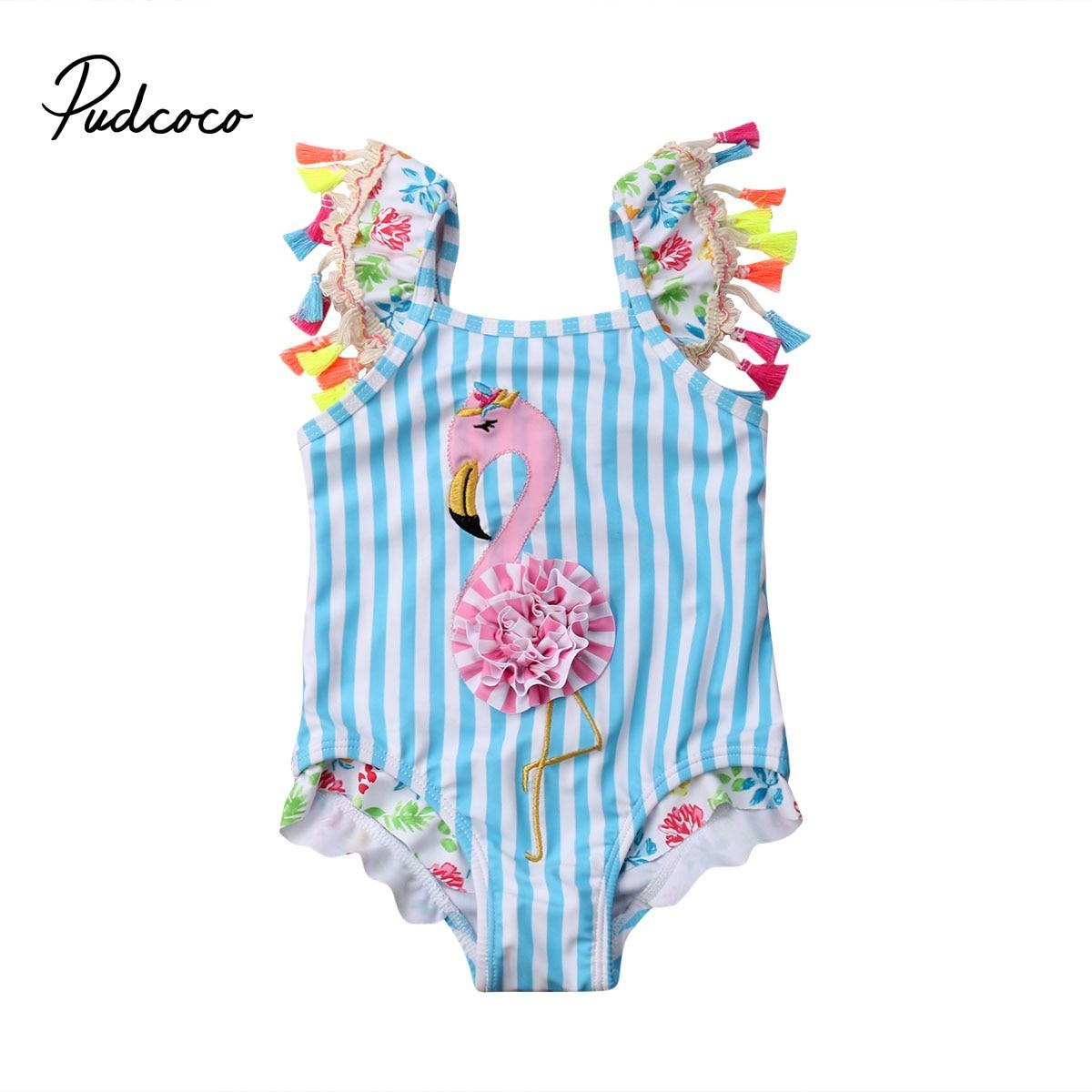 Bebé recién nacido niños bebé niñas borla de moda de vuelo manga Flamingo Bikini ropa de baño Floral traje de baño ropa de playa