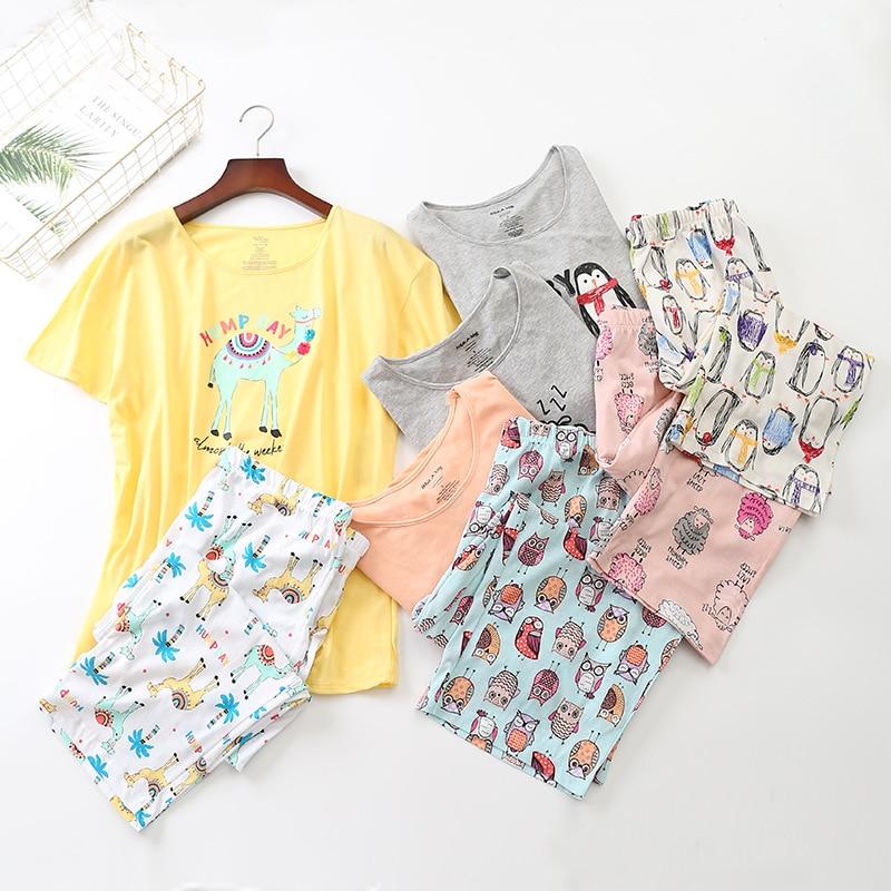 Summer Short Sleeved Korean Cartoon Printing Pajamas Tall woman Loungewear Pyjamas Women Pijama Plus Size Sleepwear for 105kg