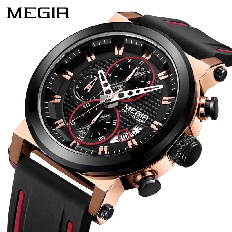 MEGIR Luxury Brand Quartz Watch for Men Big Dial Sport Men Watches Chronograph Wrist Watch Man Kol Saat Jam Tangan Pria Dropship