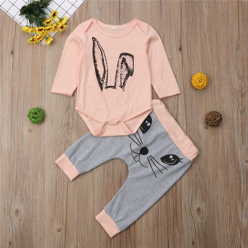 Conjunto de ropa para niñas recién nacidas de otoño mono de conejo de manga larga pantalones para niñas ropa de algodón conjuntos 2 uds