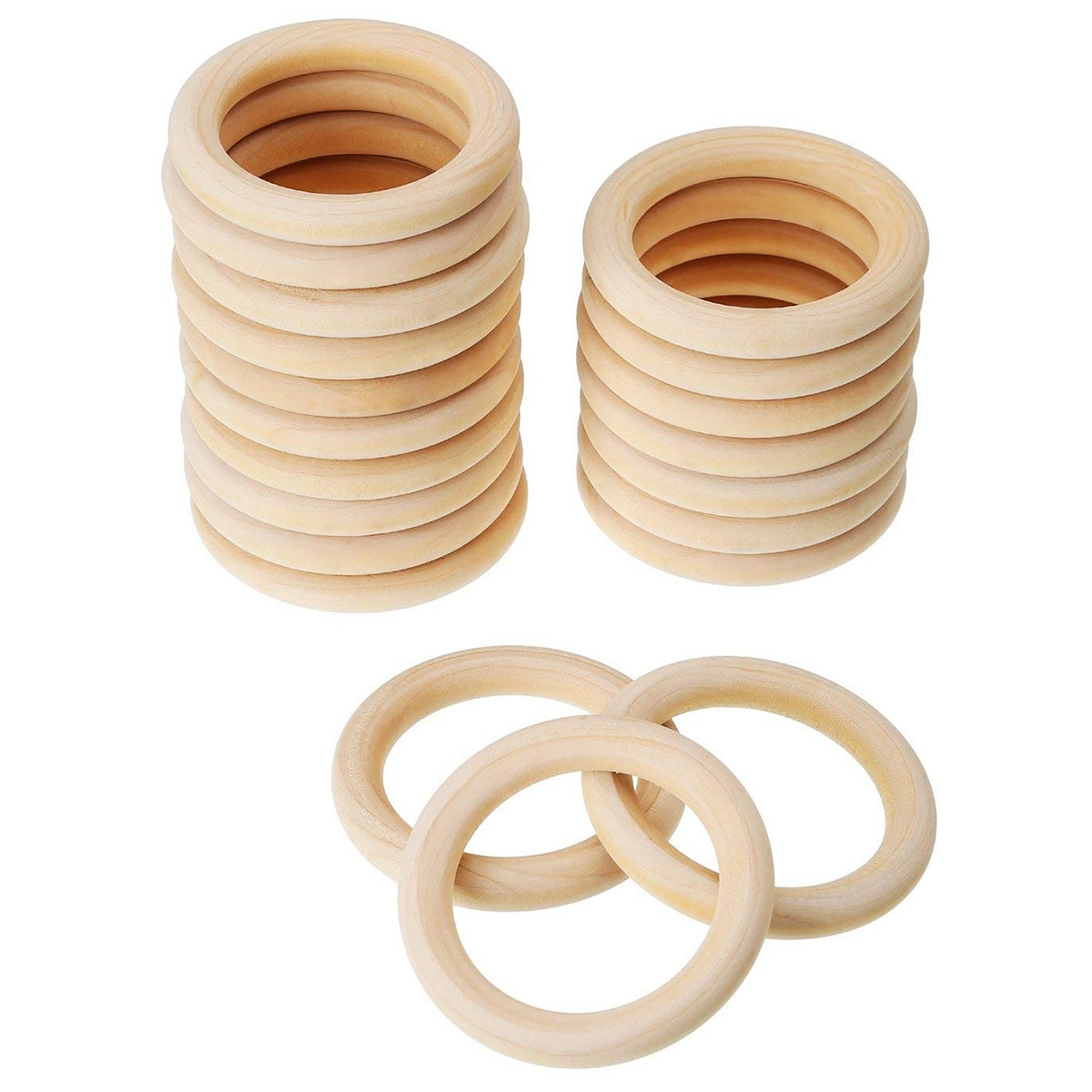 Paquete de 20 anillos de madera, anillos de madera para manualidades, colgantes de anillo y conectores para fabricación de joyas de 70mm