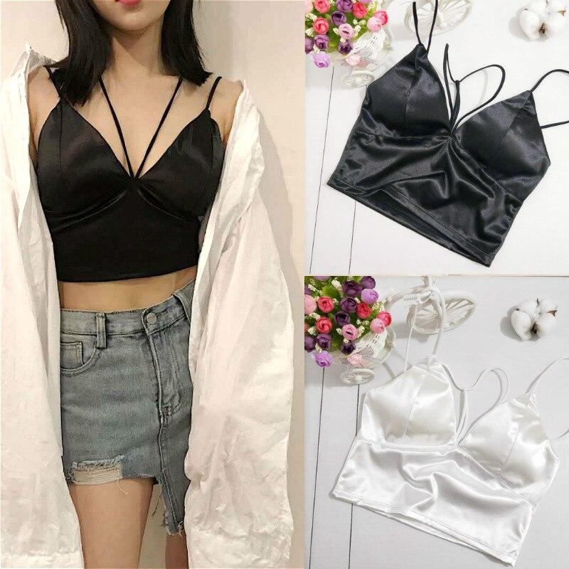 ¡Verano 2019! Crop Tops de satén para mujer, Bralette, corpiño, sujetador, chaleco, camisa con cuello en V, Tops de mujer, camisas blancas y negras, camisola para mujer
